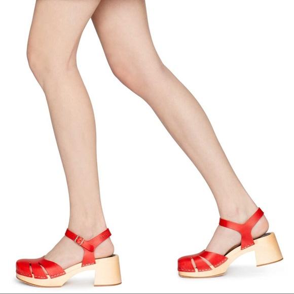 Swedish Hasbeen Red Clog Sandal